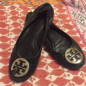 Tory Burch Reva Leather Flats in Black and Silver